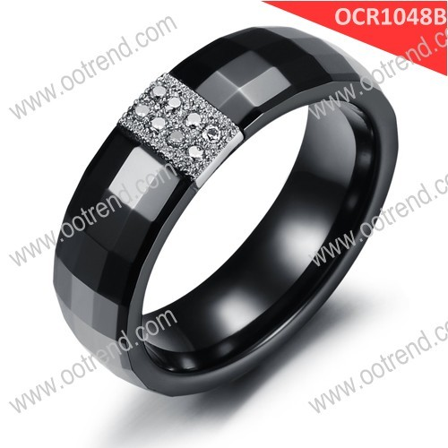 Diamond gold Zirconia white black fancy wedding ring for couple