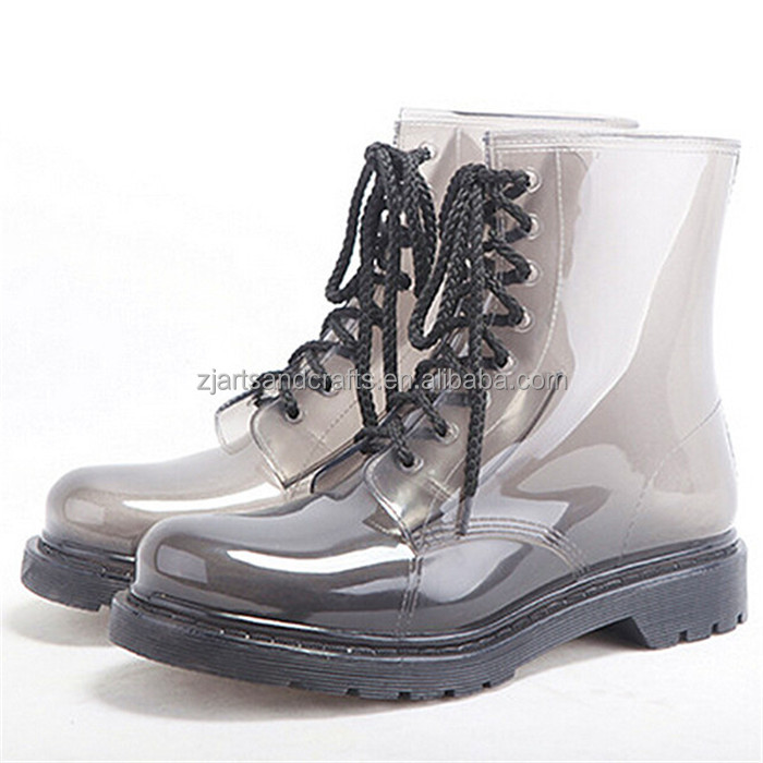 2014 Fashion pvc martin transparent rain boot ankle boot for women