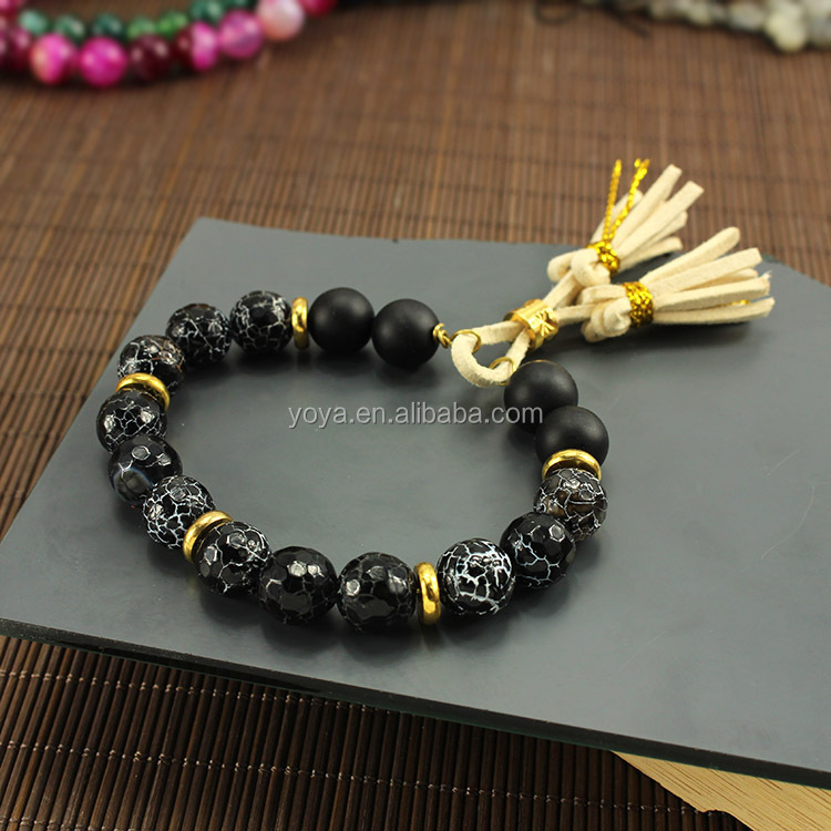 men bracelet adjustable matte black agate <strong>stone</strong> and gold copper tassels bracelet