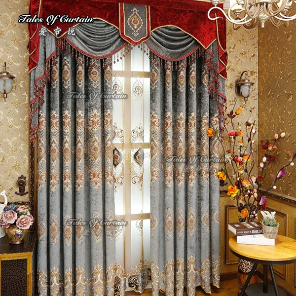 Curtain factory with noble and luxury design thickened chenile embroider curtain fabric