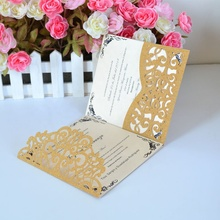 Glitter gold laser cut TF04 pocket fold wedding card invitations