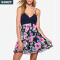 2017 new design top sale sexy floral v-neck spaghetti strap sexy women dress
