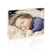 "Custom 5x7"" Clear Acrylic Photo Frame Stable Tabletop Magnet Frame Double Sided Picture photo frame"