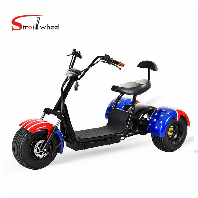 Strollwheel High Quality 2 <strong>passenger</strong> 3 wheel electric scooter 60V 1000W Citycoco For Adult