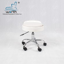Portable white salon stool hand nail spa pedicure stool with low backrest