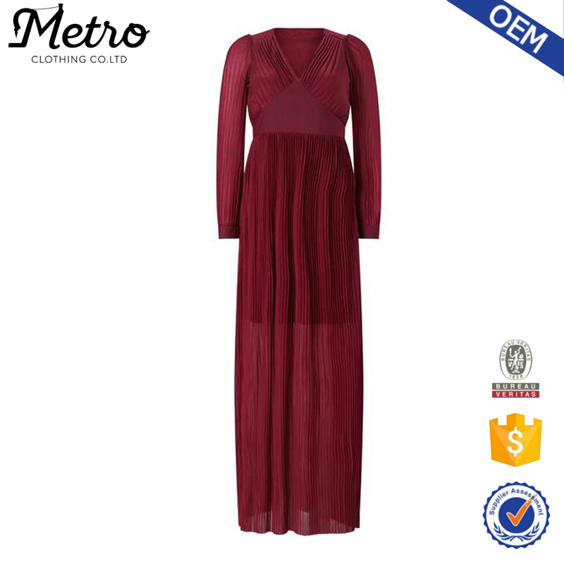 Perfect Design For Evening Walk Burgundy Pleated Maxi Dresses