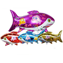 Wholesale foil cartoon printed shark helium foil balloon Fish party decor shark dolphin globos inflatable ball toy gift