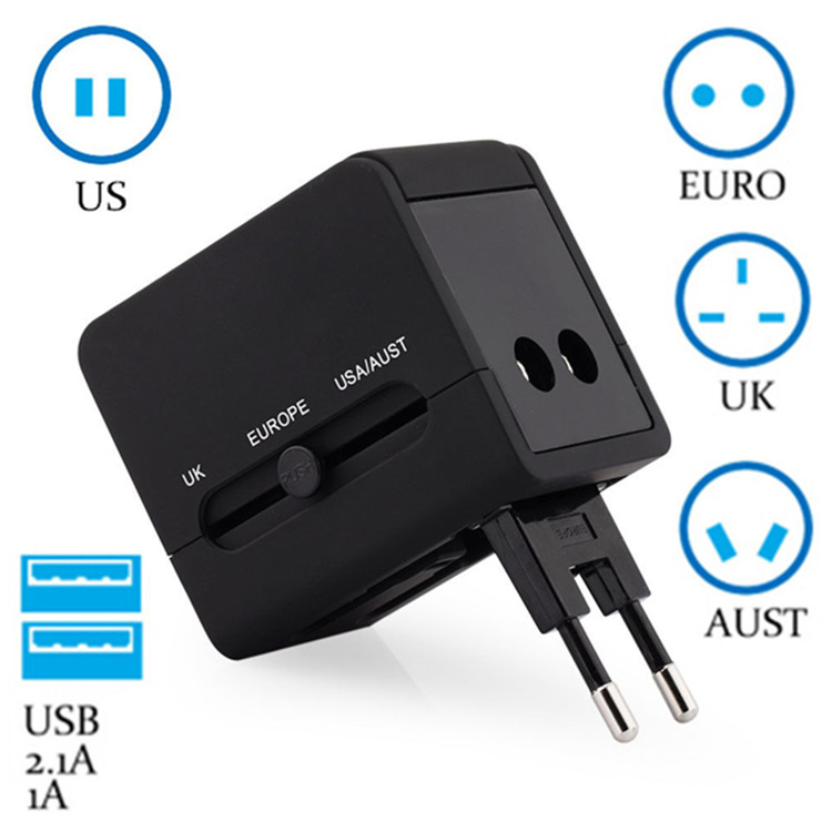 Worldwide All in One Universal Travel Adapter Wall Charger Converters Wall AC Power Plug Adapter with Dual USB Charging Ports