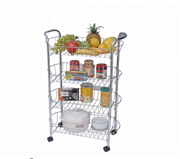 3 Tier Metal Wire Kitchen Vegetable Serving Trolley Cart