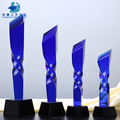 2018 Wholesale Unique Twisted Blue Crystal Customized Trophies