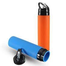 New Products 2017 Outdoor Portable Squeeze Sports Drink Bottle Silicone Foldable Water Bottle