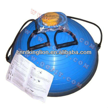 Bosu ball / half gym ball with expander handle and pump