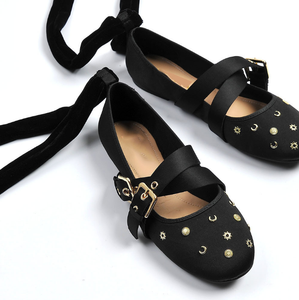 Wholesale Summer Casual Black Stain With Straps Women Ballet Flat Shoes