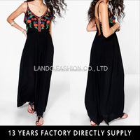 Latest dressing gown lady designs summer maxi open back Embroidered dress women 2016