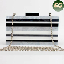 Acrylic Color Collision Handbag Hard Case Evening Clutch Bags With stripes EB840