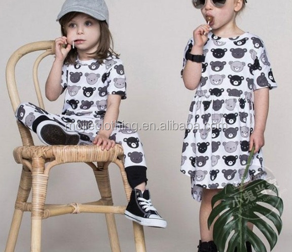 Wholesale hot selling girl kids clothes baby girl w/ cute teddy bear pattern dress and pants baby white set