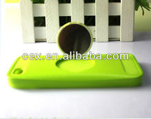 For Apple iphone 5C Green Soft Silicone Case with A Mirror