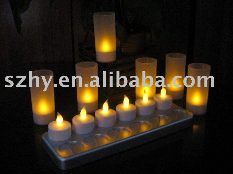 One set of 12 pieces LED light up plastic candle
