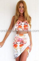 Z56866A New Women Flower Print Clothing sets with Crop Top Shorts Twinset Two Piece Outfits Playsuit Backless Rompers Jumpsuit
