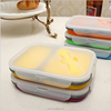 Microwave safe foldable silicone lunch boxes fresh food container in 2 compatments