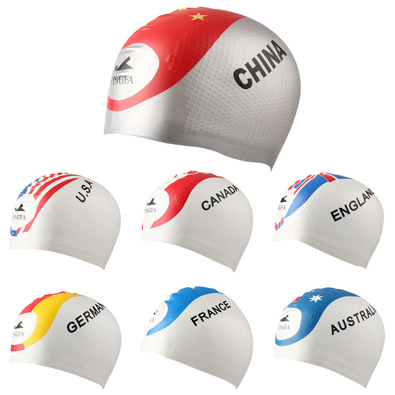2017 new arrival each country flag pattern silicone swimming cap
