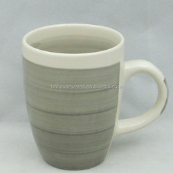 hot selling in africa 14 oz grey color in inner & outer hand painted stoneware mug / ceramic coffee mug/ cup wiith handle
