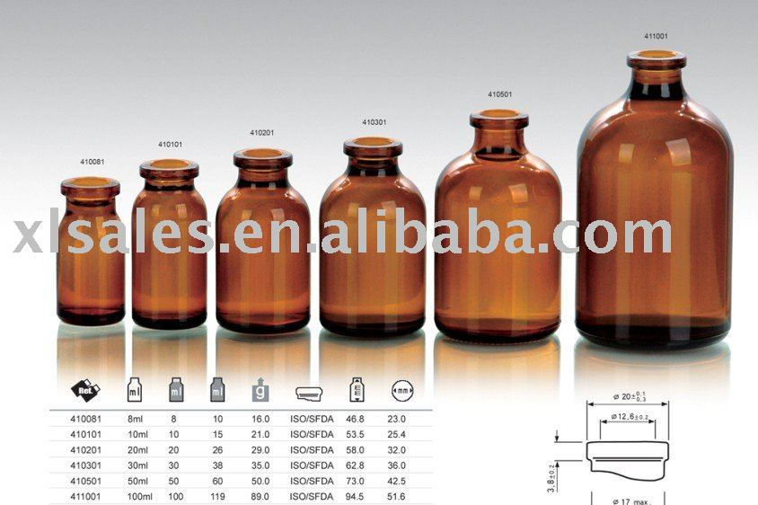 Amber mould injection vials for antibiotics