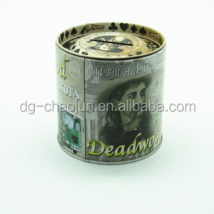 printed metal box customized design round shaped tin coin bank