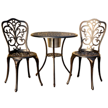 Outdoor Garden <strong>Furniture</strong> 3-piece Round Bronze Cast Aluminum Patio Dining Set
