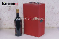 Red bottle leather wine carrier,faux leather wine box