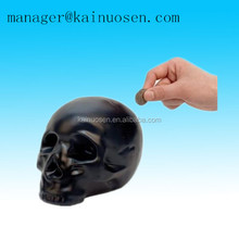 Personalized black skull shape ceramic coin bank saving money box