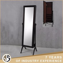 Bedroom Wall Mount Solid Wood Dressing Mirror With Drawer