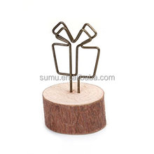 Round Wood Base Different Shapes Metal Wire Desktop Paper Clip Photo Holder