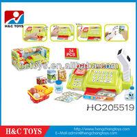 simular supermarket play set, b/o cash register toy with scanner HC205519