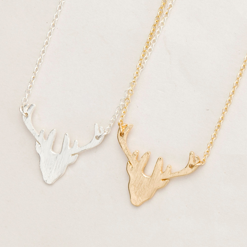 2016 Latest Design Pure Silver Antler Deer Model kids necklace gold pendant designs men