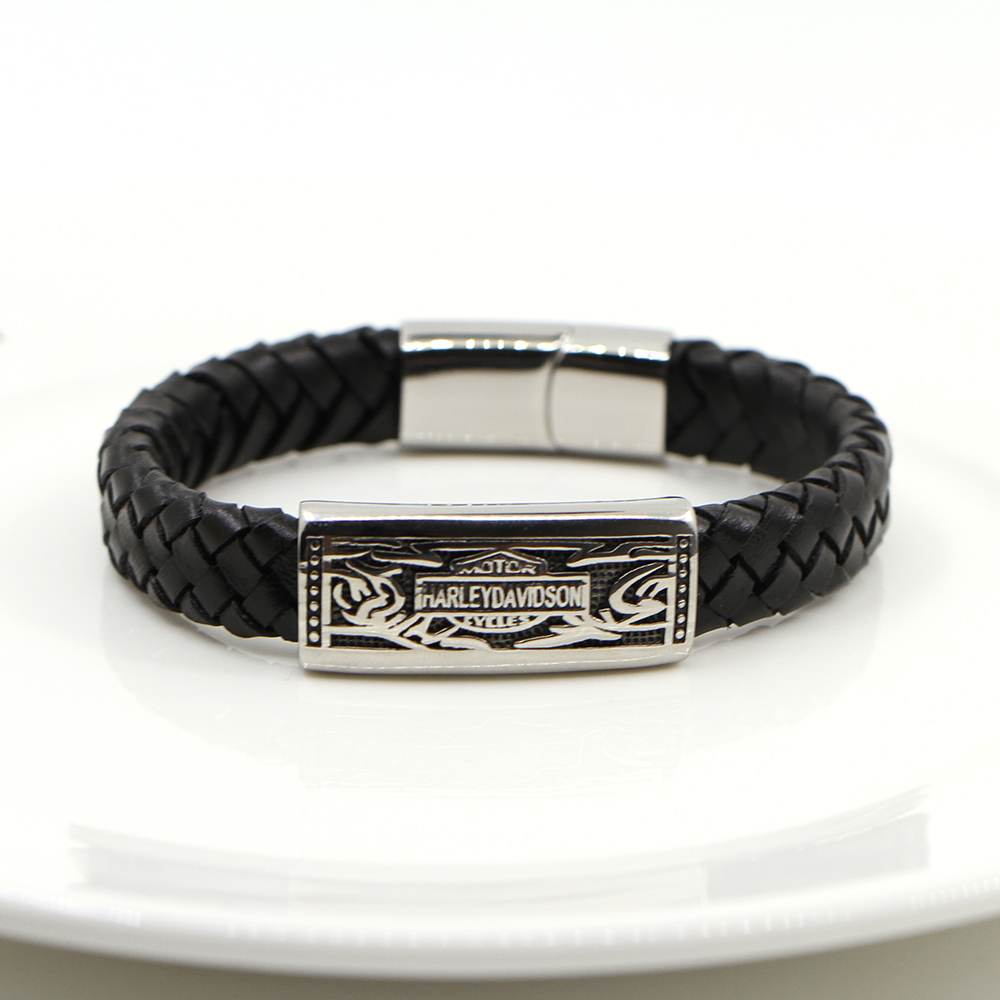 Wholesale Genuine Leather Stainless steel Men Bracelet Wrap Wristband for Men Classic Bracelet Men Bangle Jewelry