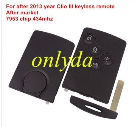 For Renault Clio IV and Renault Capture 4 button keyless Remote key used for after 2013 year car