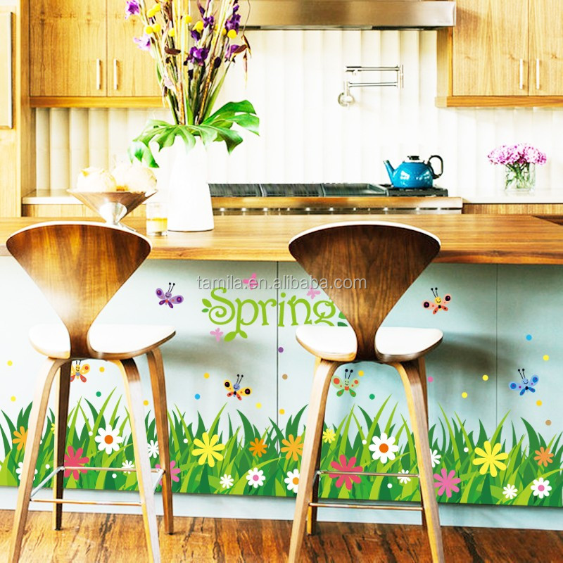 Home Decoration Ladybug Green Grass Border Wall Decal Wall Sticker