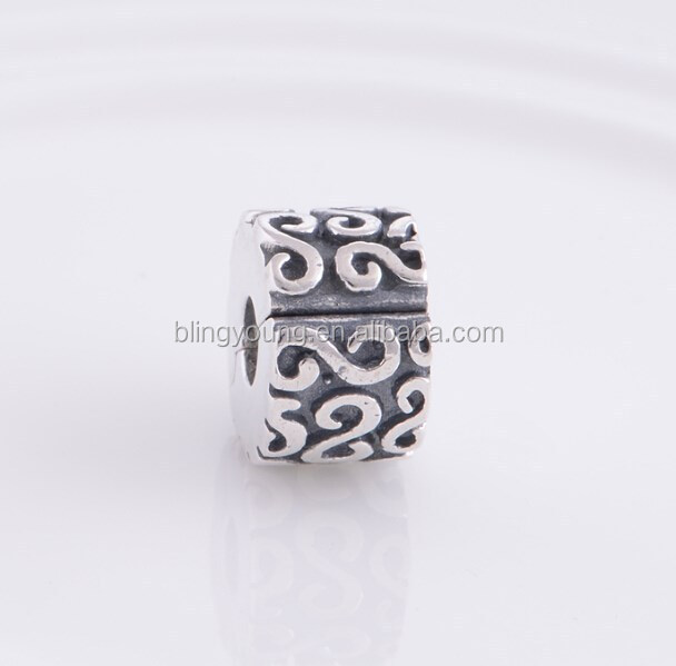 European style Tube sterling silver clip beads