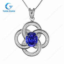 cz gemstone pendant 6A+ oval cubic zirconia flower four circles shape 925 sterling silver material