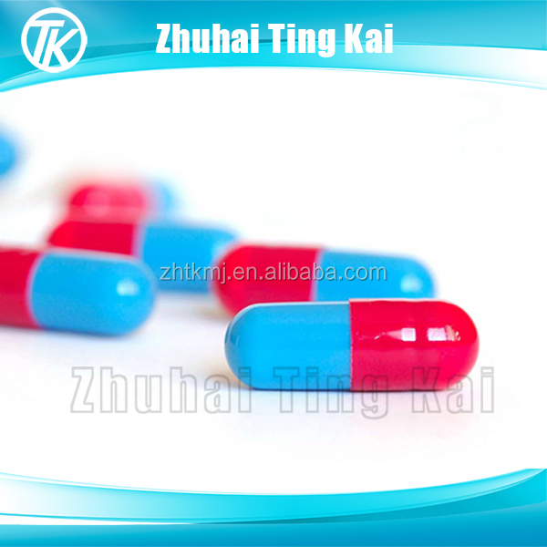 Red and blue vegetarian capsules shell