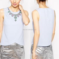 Shallow blue beaded sleeveless young girls new fashion girls top