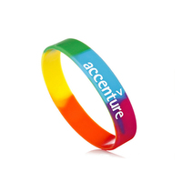 Segmented Colors 2 Layer Custom Silicone Rubber Bracelet Wristband