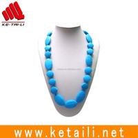 2016 Custom Beautiful Food Grade silicone teething beaded necklace wholesale