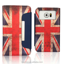 Retro UK flag leather case for samsung galaxy s6 edge, wholesale
