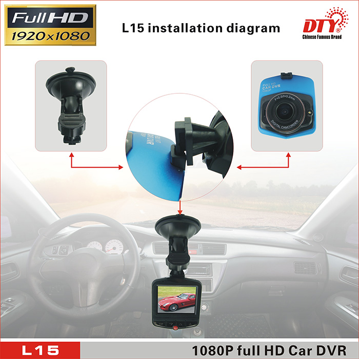 1080P full HD car dvr with 170 degree ultra wide angle lens: L15