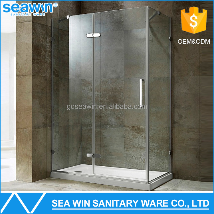 Hospitality 304 Stainless Steel Spare Parts Free standing Tempered Glass Pivot Shower Enclosure