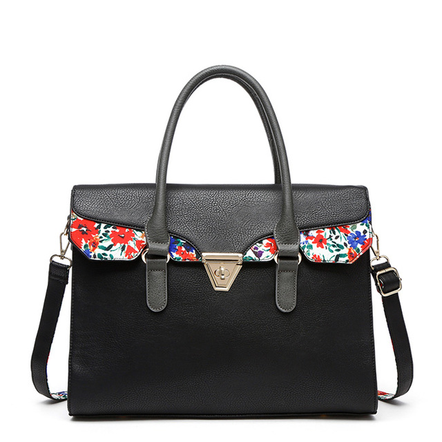 china suppliers bags korea handbags office used black satchel bag with flower printed