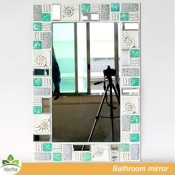 Norhs rectangle crafted coastal stylish mosaic framed wall mirrors with special partten for bathroom decor