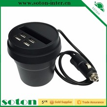 2017 New trend mobile accessories 4USB Car Charger Cup Holder Designed 3 USB Port with 2 Cigarette Expansion Output charging